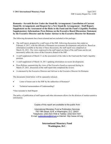 Romania letter of intent memorandum of economic and imf romania seventh review under the stand by arrangement imf spiritdancerdesigns Image collections