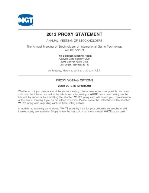 2013 PROXY STATEMENT