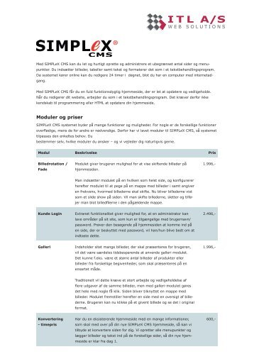 SIMPLeX CMS produktblad - ITL A/S