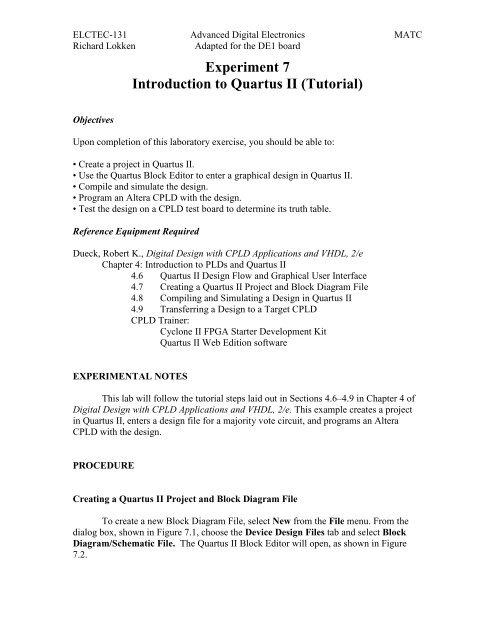 Experiment 7 Introduction to Quartus II (Tutorial)