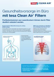 Gesundheitsvorsorge im Büro mit tesa Clean Air® Filtern