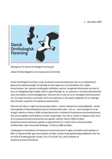 7. december 2009 Høringssvar fra Dansk Ornitologisk Forening på ...