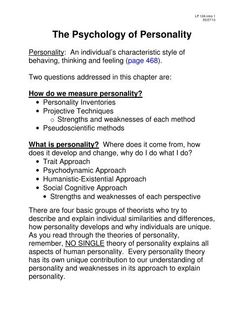 projective methods of personality assessment