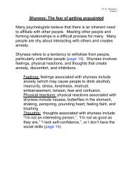 Shyness: The fear of getting acquainted Many psychologists believe ...