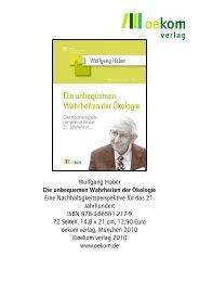 Wolfgang Haber Die unbequemen Wahrheiten der Ökologie Eine ...