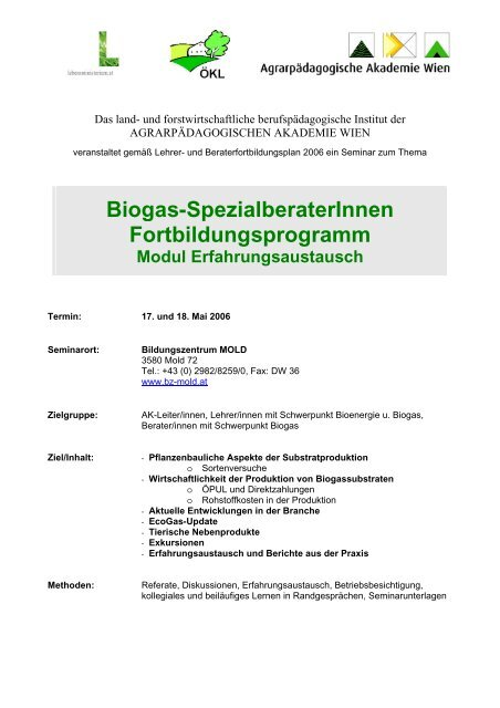 Programm Biogas Mai 06 - ÖKL