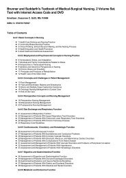 Table of Contents for (9780781785907) Brunner and Suddarth's ...