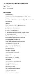 Table of Contents for (9780787970956) Law of Higher Education ...