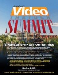 Video Insider Summit Sponsorship Opportunities (pdf) - MediaPost