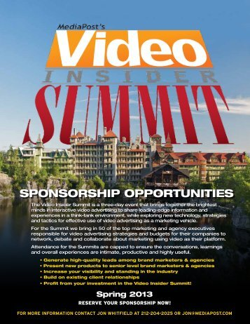 Video Insider Summit Sponsorship Opportunities (pdf) - MediaPost