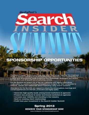 Search Insider Summit Sponsorship Opportunities (pdf) - MediaPost