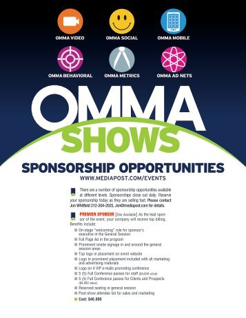 There are a number of sponsorship opportunities ... - MediaPost