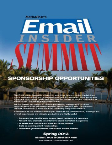 Email Insider Summit Sponsorship Opportunities (pdf) - MediaPost