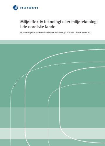 Miljøeffektiv teknologi eller miljøteknologi i de ... - Ecoinnovation