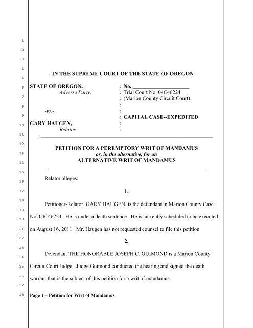 Petition for Writ of Mandamus - OregonLive com