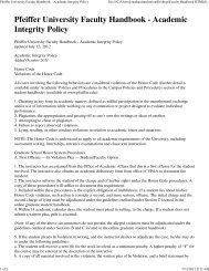 Pfeiffer University Faculty Handbook - Academic Integrity Policy