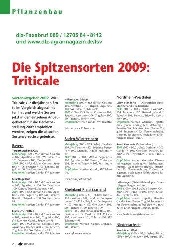 Die Spitzensorten 2009: Triticale