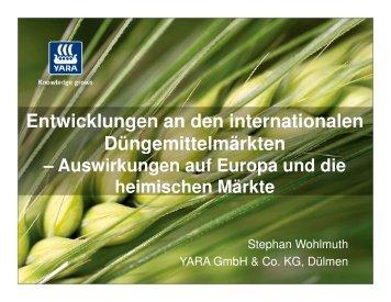 Entwicklungen an den internationalen Düngemittelmärkten
