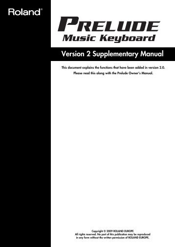 Owners Manual - Roland Keyboard Club