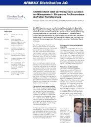Clariden Bank setzt auf innovatives Datacen - Arimax Distribution AG