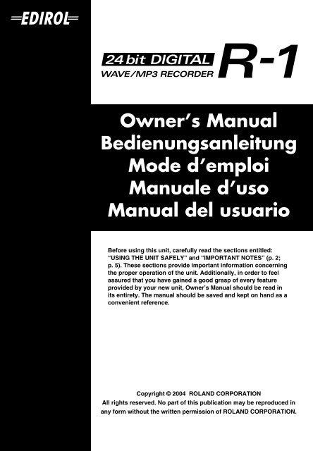 Owner's Manual Bedienungsanleitung Mode d'emploi Manuale d ...