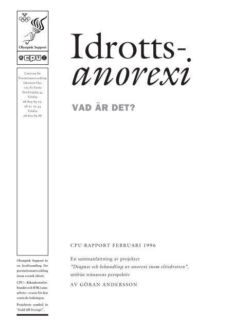 Idrottsanorexi – vad är det? - Sveriges Olympiska Kommitté