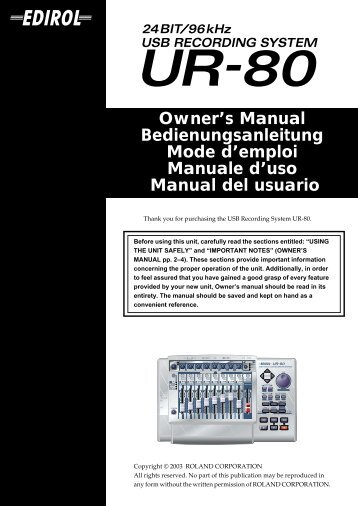 Owner's Manual Bedienungsanleitung Mode d'emploi ... - Roland