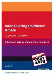 het rapport Intensiveringsmiddelen Amsta - FNV voor zorg
