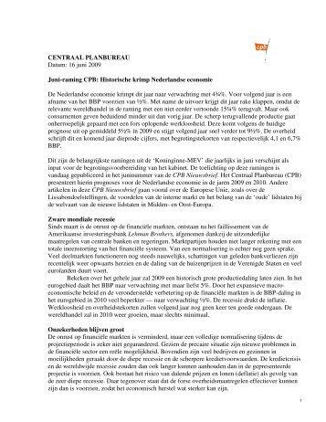 CENTRAAL PLANBUREAU Datum: 16 juni 2009 Juni ... - RTL.nl
