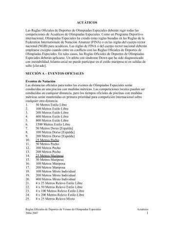 1 ACUÁTICOS Las Reglas Oficiales de Deportes ... - Special Olympics