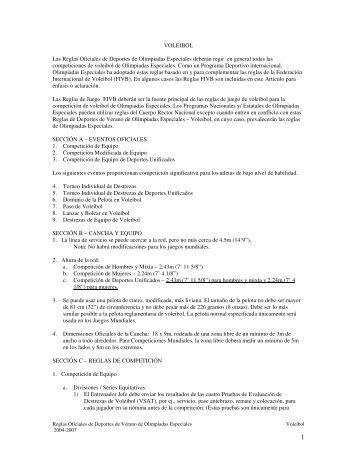 VOLEIBOL Las Reglas Oficiales de Deportes de ... - Special Olympics