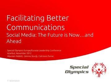 Social Media Workshop, Istanbul 2012 (PDF) - Special Olympics