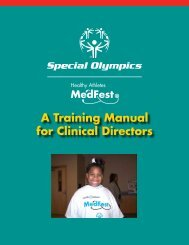 MedFest Manual for Clinical Directors - Special Olympics