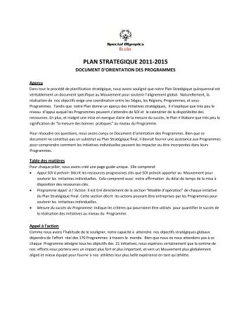PLAN STRATEGIQUE 2011-2015 - Special Olympics