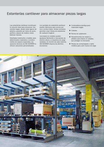 Estanterías cantilever para almacenar piezas largas - SSI Schäfer