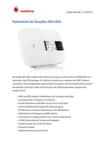EasyBox 904 LTE Datenblatt - Vodafone