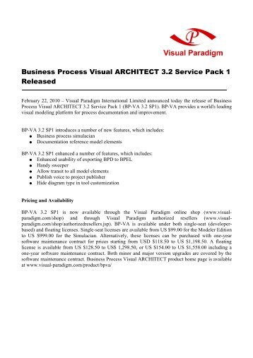 Business Process Visual ARCHITECT 3.2 Service ... - Visual Paradigm
