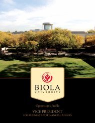 Vice President for Business and Financial Affairs - Biola University