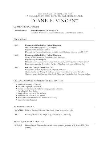 DIANE E. VINCENT - Biola University
