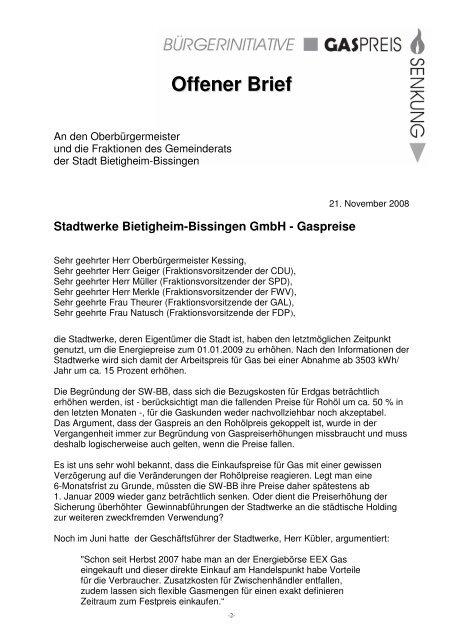 Offener Brief An Den Oberbürgermeister Und Die Fraktionen Des
