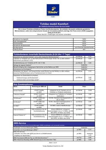Tchibo mobil Komfort-Tarif Preisliste 03.05.2011_Stand 11.05