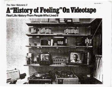 A ?History of Feeling? On Videotape - Media Burn Archive