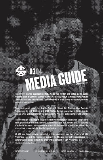 The 2003-04 Seattle SuperSonics Media Guide was written and ...