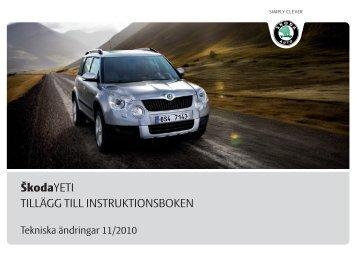ŠkodaYETI TILLÄGG TILL INSTRUKTIONSBOKEN - Media Portal ...