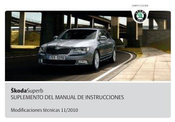 ŠkodaSuperb SUPLEMENTO DEL MANUAL DE INSTRUCCIONES