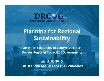 Planning for Regional Sustainability