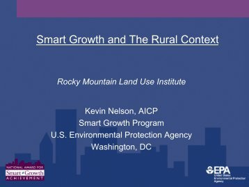 Smart Growth Options for Small Communities and Rural Areas