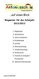 Wegweiser für das Schuljahr 2012/2013 - Antoniusschule
