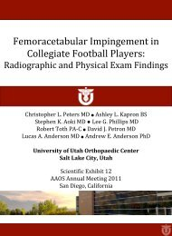 Radiographic and Physical Exam Findings - University of Utah ...