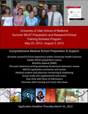 Summer MCAT Preparation Program - University of Utah - School of ...